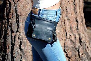 Black Leather Fanny Pack, Women Black Belt Bag, Festival Waist Pack, Utility