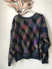 Vintage Kaffe Fassett For Rowan Ya tumbling blocks wool hand knit jumper sweater