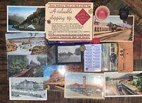Vintage Estate Lot Railroad RR Ephemera Postcard Calendar Token Milk Cap Patch