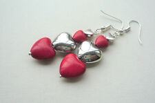 Red Howlite and Silver Stacked Heart Dangle Earrings  KCJ2669