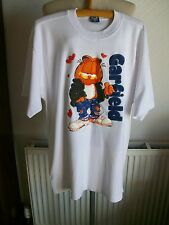 Vintage Short Sleeve White Top with Raised Garfield Logo, Size XL, BNWOT