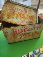 Boîte Étain 16 x 10 x 9 Biscuits Mellin D'Origine Années '50