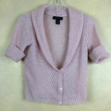 Express Pink Wool Mohair Blend Short Sleeve Low Cut Cardigan Sweater  M