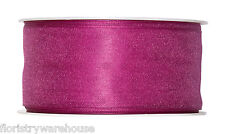 """Cerise Pink Organza ribbon 40mm (1.5"""") wired fabric 25m roll Made in Germany"""