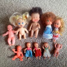 LOT 10 Vintage Miniature Plastic & Rubber Dolls Baby -Many Jointed- CUTE NO RES