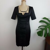 Review Dress SZ 8 Black Sateen Gathered Front Knee Length Wiggle Retro Look