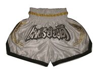 Kick Thaibox Hose Muay Thai Shorts Pants 100% Satin & NEW Top Design Gr.M white