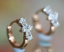 Rose Gold GF Created Diamond Clover 1.2cm Rose Gold GF Hoops