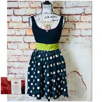 Anthropologie Corey Lynn Calter Retro Polka Dot Belted Fit & Flare Dress Size 4