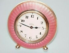 Vintage Sterling Silver with Pink Guilloche Enamel 8 Days Travel Clock