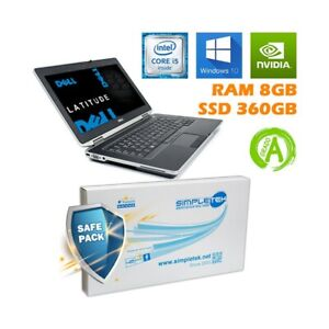 """DELL LATITUDE E6430 I5 3210M 14"""" RAM 8GB SSD 360GB NVIDIA BATTERIA NUOVA."""