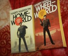 lot of 2 vintage first 2 in trilogy Homeworld & Wheelworld Harry Harrison pb sci