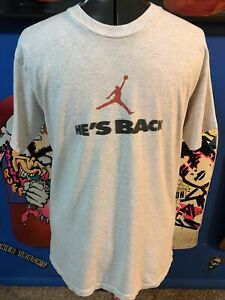 "1995 Michael Air Jordan ""He's Back"" Vintage Nike T-Shirt Chicago Bulls"