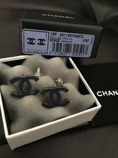 NIB CHANEL Large CC Logo RARE Navy Black Leather Studs Earrings Limited Edition