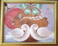 RARE VINTAGE LITTLE BIJOUX HAITIAN ART OIL PAINTING BY E CHAMPAGNE HAITI 8x10