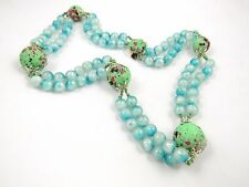 Vtg Japan Blue Double Strand Necklace Green Red Speckled Focus Beads Plastic