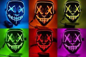 Masque LED d'Halloween la Purge costume déguisement cosplay fun fête américain