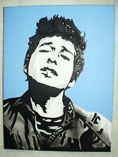 Canvas Painting Bob Dylan Young Blue B&W Art 16x12 inch Acrylic