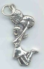 Jumping Cheerleader Charm with Ring for Bracelet Sterling Silver