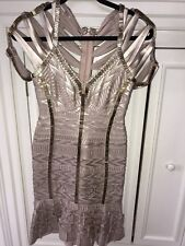 HERVE LEGER GOLD  Dress Size SMALL