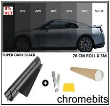 BLACK WINDOW TINT FILM CAR VAN HOME BUS TINTING SUPER DARK LIMO 5% 76cm x 3M