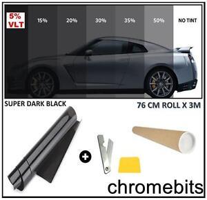 BLACK WINDOW TINT FILM CAR VAN HOME BUS TINTING SUPER DARK LIMO 5% 76cm x 3M