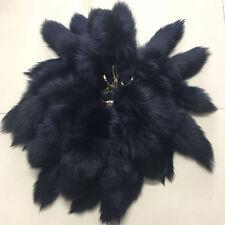 10pcs Black color Natural Real Fox Fur Tail Keychain Tassel bag charm Key Ring