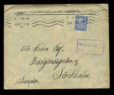 Gb kg5 1920 Perfin Churchill + Sim 2 1/2 D a Suecia