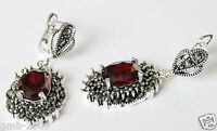 Fashion Jewelry Red Ruby Gemstone 925 Sterling Silver Marcasite Dangle Earrings