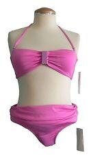 Womens Bikini Swimsuit Size Small Pink Halter Bandeau 2 Piece New Raisins