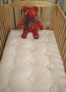 ORGANIC CRIB MATTRESS Eco Wool Filled Baby Bed Futon Natural New USA Non-Toxic