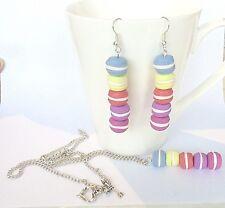 PARURE collier + boucles oreilles macarons en FIMO Bijou Unique & Port offert