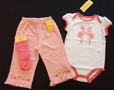 NWT Gymboree Tropical Oasis 12-18 Months Flamingo Bodysuit Pants & Flower Socks