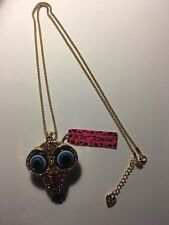 Betsey Johnson Crystal Enamel Owl WITH MOVABLE PARTS Necklace-BJ6510