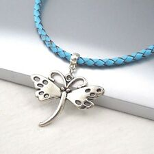 Silver Alloy Butterfly Wings Pendant Braided Baby Blue Leather Choker Necklace