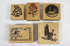 Lot of 5 Vintage PSX Wood Mounted Rubber Stamps F-415 F-392 Y-670 C-335 E-069