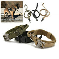 Cobra Buckle Military Tactical Training Dog Collar+Bungee Lead 2 Control Handles