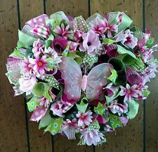 DECO MESH HEART WREATH MOTHER'S DAY BUTTERFLY - Free Shipping