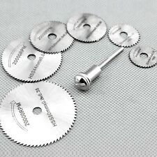7Pcs Circular Saw Blade Wood Cutting Discs Mandrel For Rotary Drill 22-50mm UK