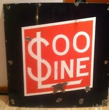 Porcelain SOO LINE Railroad Train Locomotive Engine Sign Original Advertising