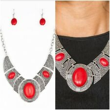 PAPARAZZI  LEAVE YOUR LANDMARK RED NECKLACE/EARRING SET