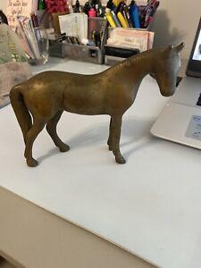 vintage brass horse statue -Antique Brass Standing Horse figurine (7'x5')