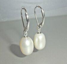 Ohrhänger Damen Ohrringe 925 Sterling Silber Süßwasser-Perlen creme-weiß + Etui