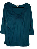 Coldwater Creek NWT Green Ruched V Neck Top Size L 14-16