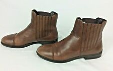 ECCO Ladies Brown Leather Ankle Boots - Size 6 / EU 39