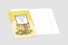 2 lustige JANOSCH-Schulhefte A5, personalisierbar, Lineatur 9, Pistaziengelb