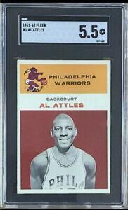 1961 Fleer Basketball Set Break #1 Al Attles RC Rookie SGC 5.5 Ex+ Centered HOF