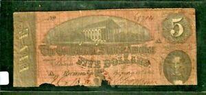 "$5 ""CONFEDERATE"" (BLUEBACK) 1800'S $5  (RARE) ""CONFEDERATE"" 1800'S ROUGH!!!"