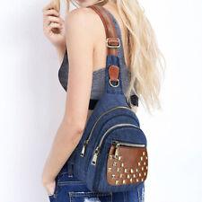 Denim Women's Sling Bags Jeans Crossbody Bag with Rivets Women Chest Bags Blue