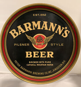 Old Barmann's Beer Tin Serving Tray Peter Barmann Brewing Kingston New York NY